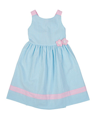 Seersucker Sundress with Applique, Jade/White, Sizes 2T-6X