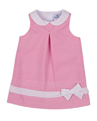 Striped Ottoman Racerback Dress, Fuchsia/White, Size 2T-6X