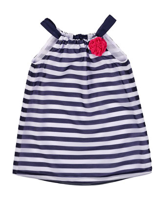 Striped Chiffon Shift Dress, White/Navy, Size 2T-6X