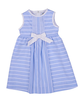 Sleeveless Ribbon-Striped Sundress, Blue/White, Size 2T-6X
