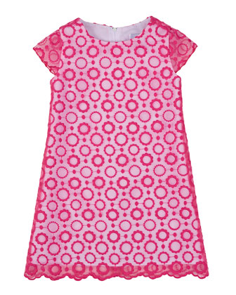 Floral-Embroidered Shift Dress, Fuchsia, Size 7-14