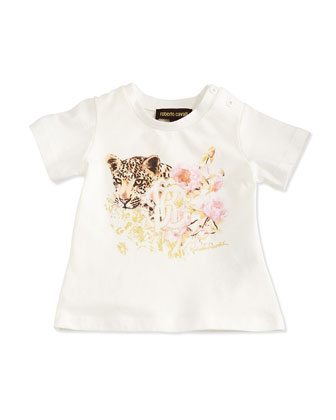 Leopard and Logo Printed Tee, Ivory, Size 6M-24M