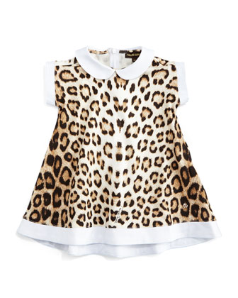 Leopard-Print Short-Sleeve Dress, Size 6-24 Months