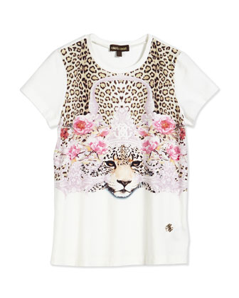 Cheetah Princess Jersey Tee, White, Size 3-10