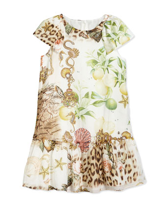 Graphic-Print Woven Dress, Multicolor, Size 3-10