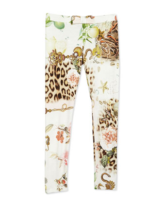 Graphic-Print Leggings, Multicolor, Size 3-10