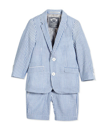 Striped Seersucker Jacket & Shorts, White/Blue, Size 6-24 Months