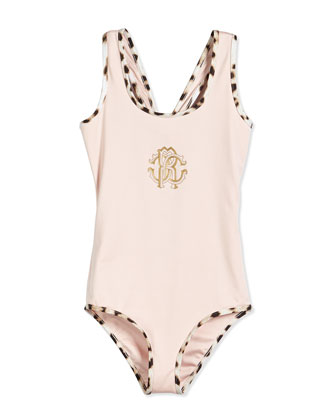 Racerback One-Piece Swimsuit, Pink, Size 2-10
