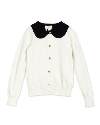 long-sleeve kati cardigan, cream, size 2-6