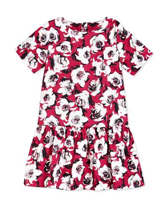 mellie floral sateen dress, romantic spring, size 2-6