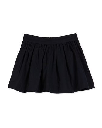 coreen cotton-faille circle skirt, black, size 2-6