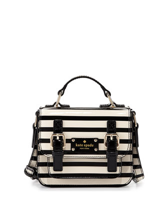 scout girls' striped patent leather crossbody bag, cream/black