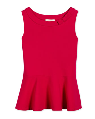 sleeveless ponte peplum blouse, sweetheart pink, size s-xl