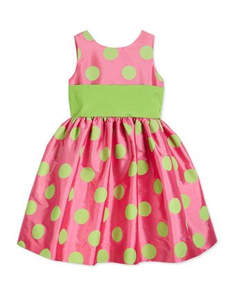 Satin Polka Dot Party Dress, Pink/Green, Size 7-14