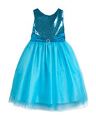 Sleeveless Sequin & Tulle Party Dress, Aqua, Size 7-14