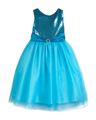 Sleeveless Sequin & Tulle Party Dress, Aqua, Size 7-14