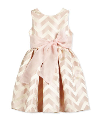 Satin Chevron Party Dress, Shell/Pink, Size 12-24 Months