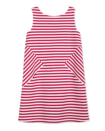 vivien striped ponte dress, sweetheart pink/white, size 7-14