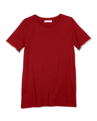 Tulisa Short-Sleeve Check-Cuff Jersey Tee, Red, Size 4Y-14Y