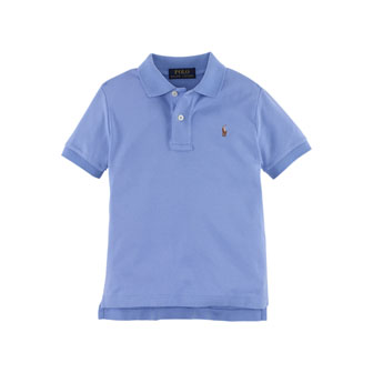 Short-Sleeve Pima Polo Shirt, Regent Blue, Size 2-7