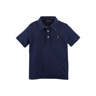 Cotton Featherweight Polo Shirt, French Navy, Size 2-7