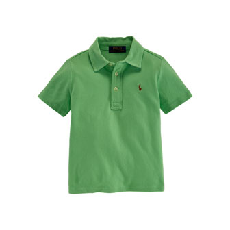 Cotton Featherweight Polo Shirt, Tropic Green, Size 2-7