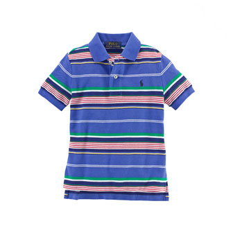 Striped Featherweight Polo Shirt, Barclay Blue, Size 2-7