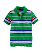 Striped Featherweight Polo Shirt, May Green, Size 2-7