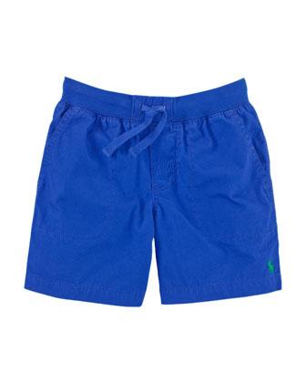 Cotton Poplin Varsity Shorts, Sapphire Star, Size 2-7