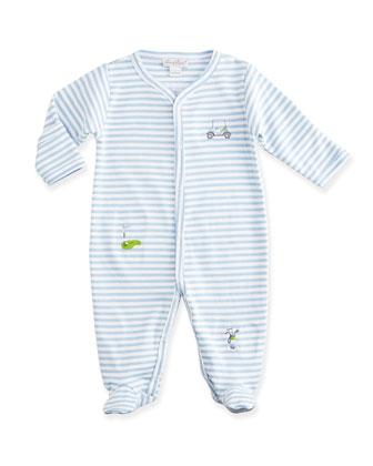 Chip & Putt Striped Footie Pajamas, Shortall & Baby Hat, Light Blue/White ...