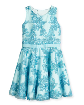 Lace-Overlay Tulle Circle Dress, Aqua, Size 7-14