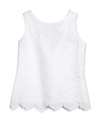 eyelet lace peplum blouse, fresh white, size s-xl