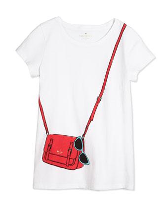 trompe l'Oeil jersey tee & coreen sunglasses-print crepe skirt