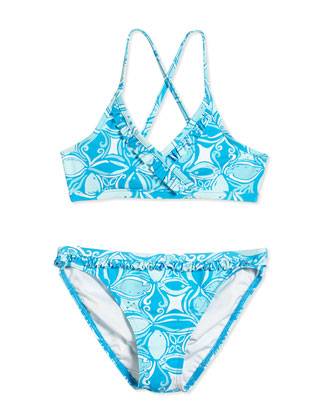 Sansa What a Racquet Two-Piece Swimsuit, Ariel Blue, Girls' Sizes 2-14