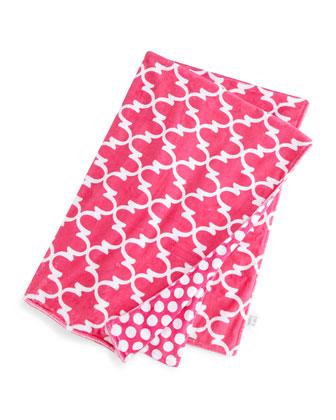 Lattice Toddler Blanket, Hot Pink/White