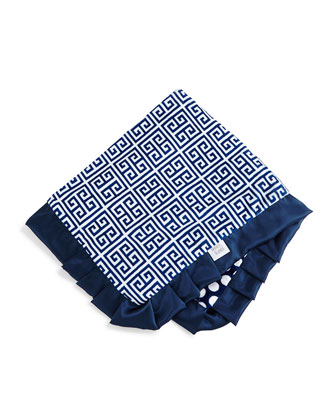 Greek Key Receiving Blanket, Navy/White