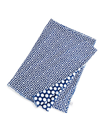 Greek Key Toddler Blanket, Navy/White