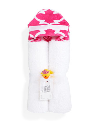 Lattice Hooded Towel, Hot Pink/White