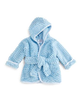Ziggy Long-Sleeve Plush Robe, Blue, Infant
