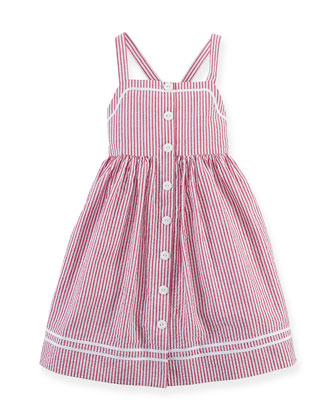 Striped Seersucker Nautical Dress, Red/White, 2T-6X