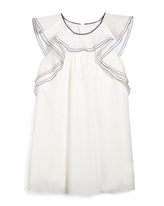 Ruffle-Trim Woven Shift Dress, White, Size 2-14