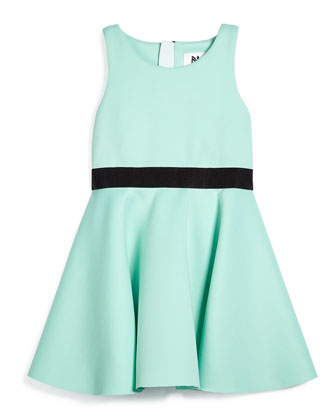 Racerback Ponte Flounce Dress, Mint Green, Size 8-14