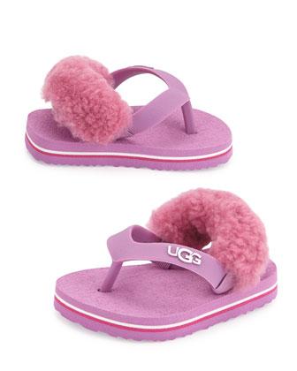 Yia Yia II Fur-Back Thong Sandal, Infants' Sizes 6-24 Months