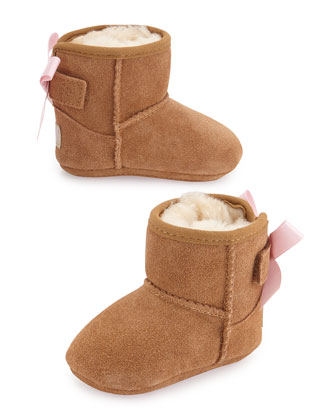 Jesse Suede Boot w/ Bow, Chestnut, Infants' Sizes 0-18 Months