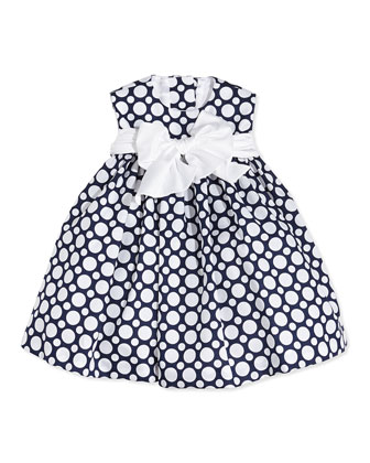 Sleeveless Polka Dot Cotton Dress, Navy/White, Size 12-24 Months