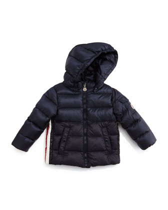 Aymeric Stripe-Trim Quilted Coat, Navy, Size 12M-3T