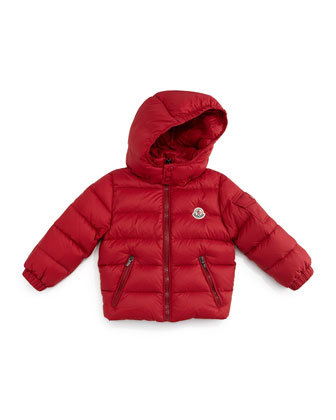 Jules Zip-Front Quilted Coat, Red, Size 12M-3T