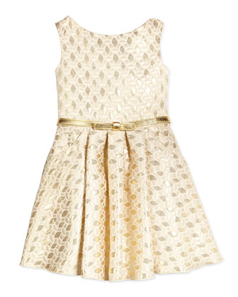 Sleeveless Jacquard Circle Dress, Gold