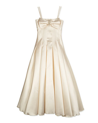 Long Pleated Gown w/ Bow, Cream
