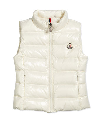 Ghany Quilted Down Vest, Cream, Size 8-14